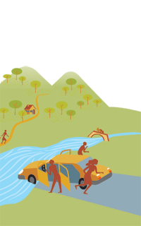 Imatge: risc al cotxe davant el riu