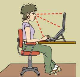 Posició correcta del treballador/a respecte a l'ordinador portàtil